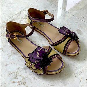 Prada Vernice Flower Shoes Sandals Size 37